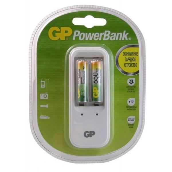Аккумулятор + зарядное устройство GP PowerBank PB410GS65 AAA 650 мАч, 2 шт зарядное устройство aa aaa gp powerbank pb410 2 аккумуляторные батареи gp rechargeable 1300 мач