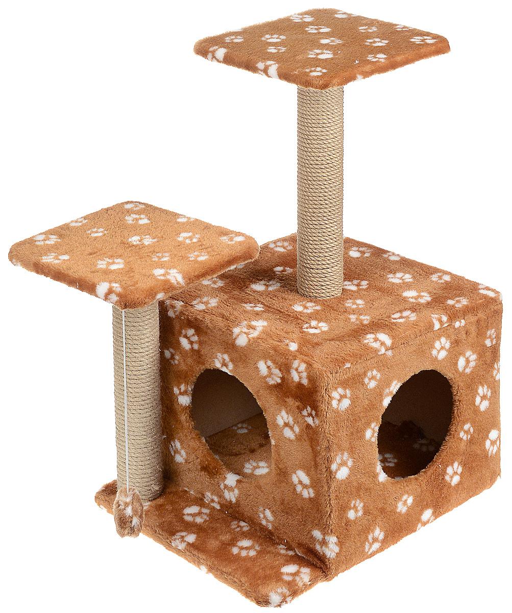 Игровой комплекс для кошек Меридиан, с домиком и когтеточкой, цвет: коричневый, белый, бежевый, 45 х 47 х 75 см игровой комплекс для кошек меридиан с домиком и когтеточкой цвет светло коричневый бежевый 35 х 45 х 75 см