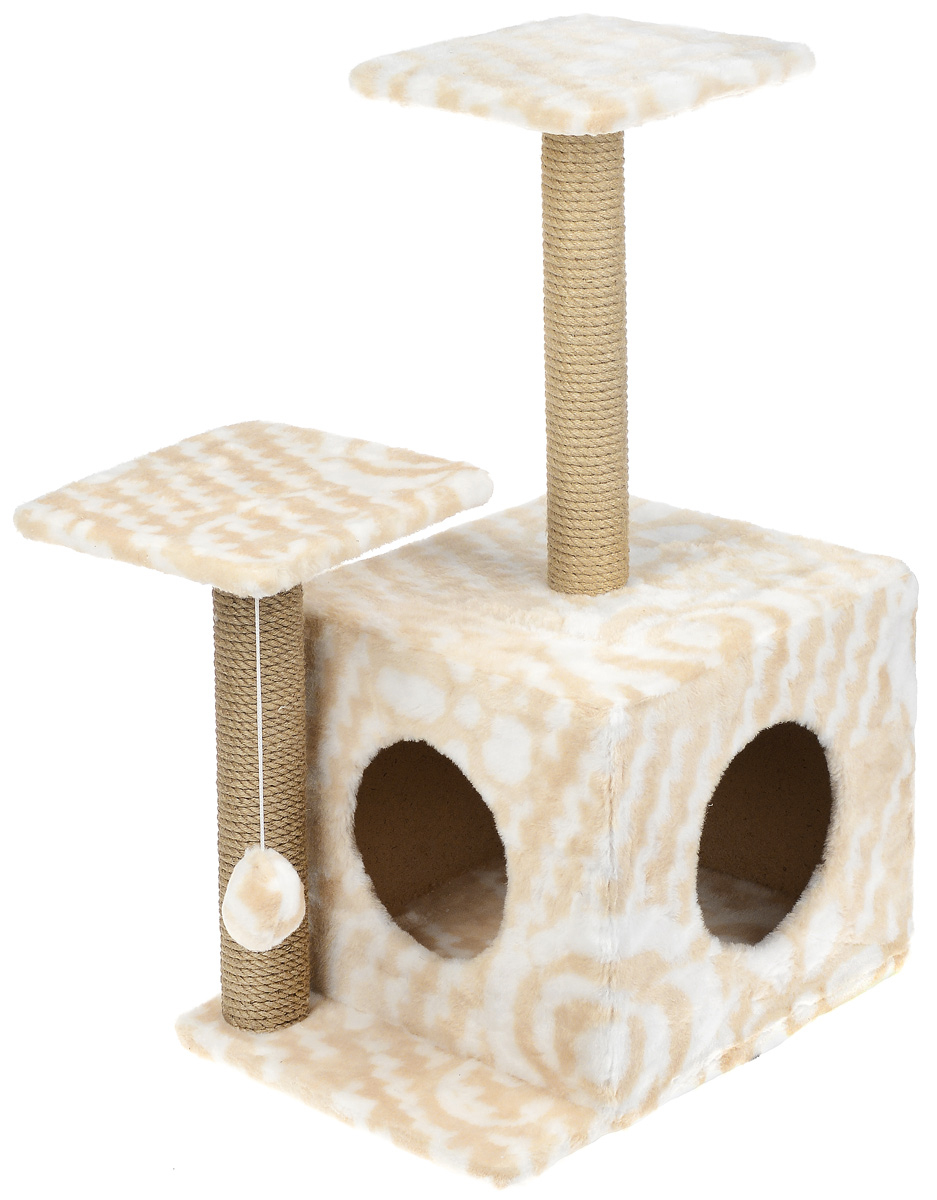 Меридиан, Домик-когтеточка Квадратный трехэтажный с двумя окошками, рис. Цветы (белый фон, бежевый рисунок), 45 х 47 х 75 см домик когтеточка меридиан квадратный трехэтажный с двумя окошками цвет светло коричневый 45 х 47 х 75 см