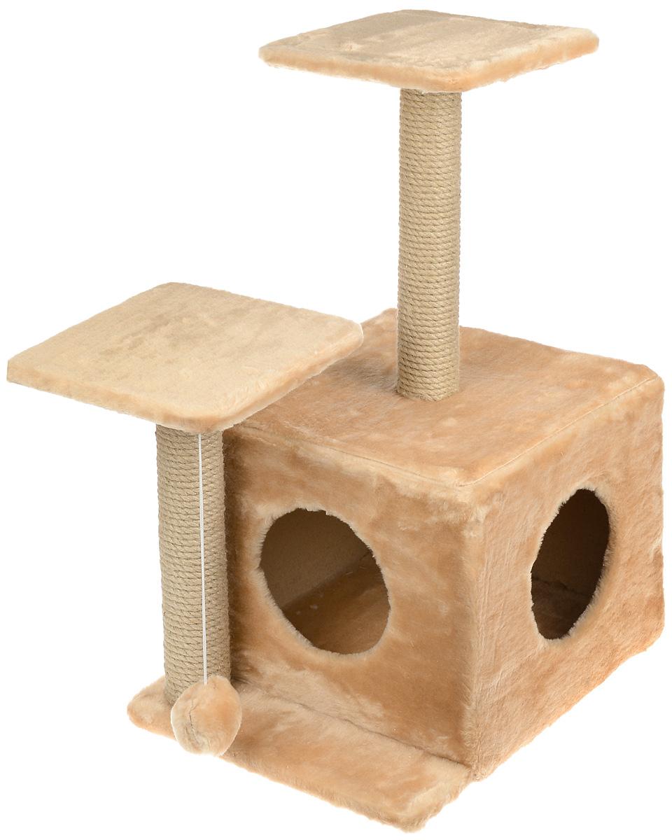 Игровой комплекс для кошек Меридиан, с домиком и когтеточкой, цвет: светло-коричневый, бежевый, 45 х 47 х 75 см игровой комплекс для кошек меридиан с фигурной полкой и домиком цвет светло серый бежевый 45 х 36 х 69 см