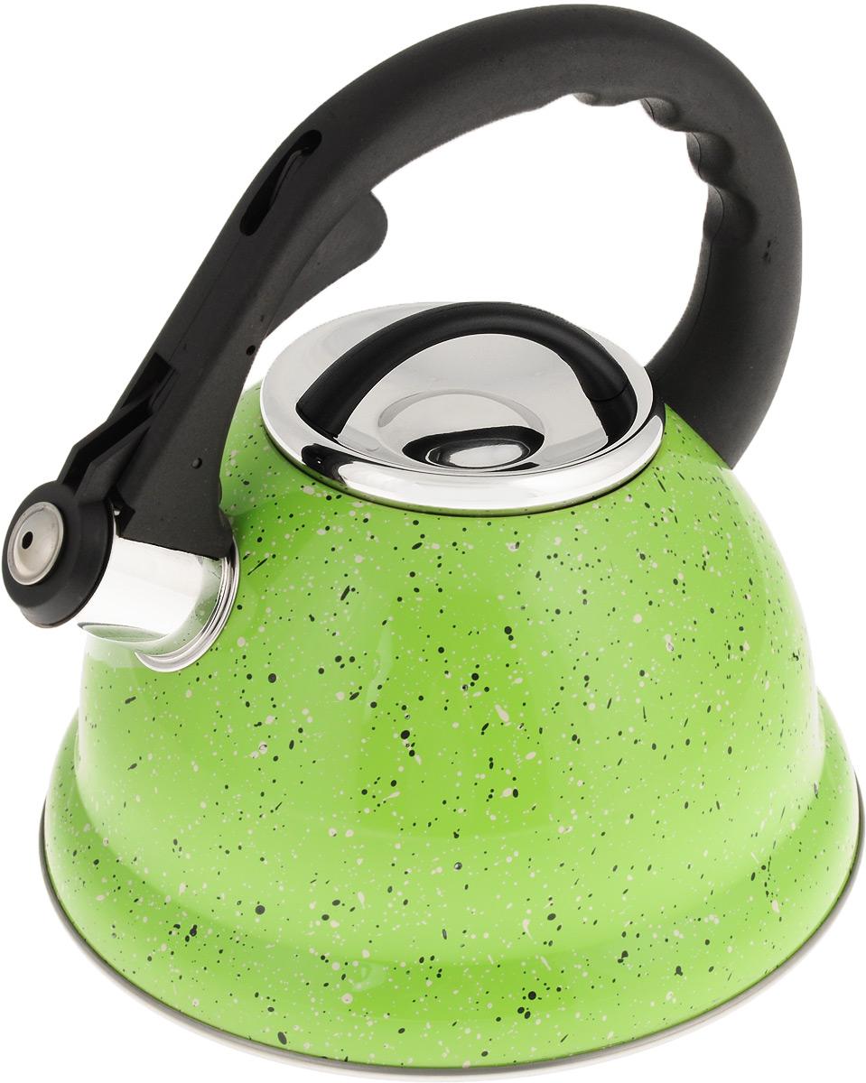 Чайник Mayer & Boch, со свистком, цвет: салатовый, черный, белый, 2,8 л. 2497524970Чайник Mayer & Boch выполнен из высококачественной нержавеющей стали, что делает его весьма гигиеничным и устойчивым к износу при длительном использовании. Носик чайника оснащен откидным свистком, звуковой сигнал которого подскажет, когда закипит вода. Свисток открывается нажатием кнопки на ручке. Фиксированная ручка, изготовленная из прочного пластика, делает использование чайника очень удобным и безопасным. Поверхность чайника гладкая, что облегчает уход за ним. Эстетичный и функциональный, такой чайник будет оригинально смотреться в любом интерьере. Подходит для всех типов плит, включая индукционные. Можно мыть в посудомоечной машине. Высота чайника (без учета ручки и крышки): 11,5 см. Высота чайника (с учетом ручки): 23 см. Диаметр чайника (по верхнему краю): 10 см.