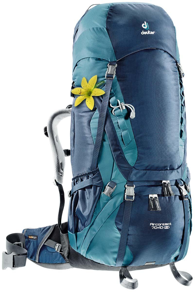 Рюкзак Deuter Aircontact 70+10 SL, цвет: светло-голубой, темно-синий, 80 л