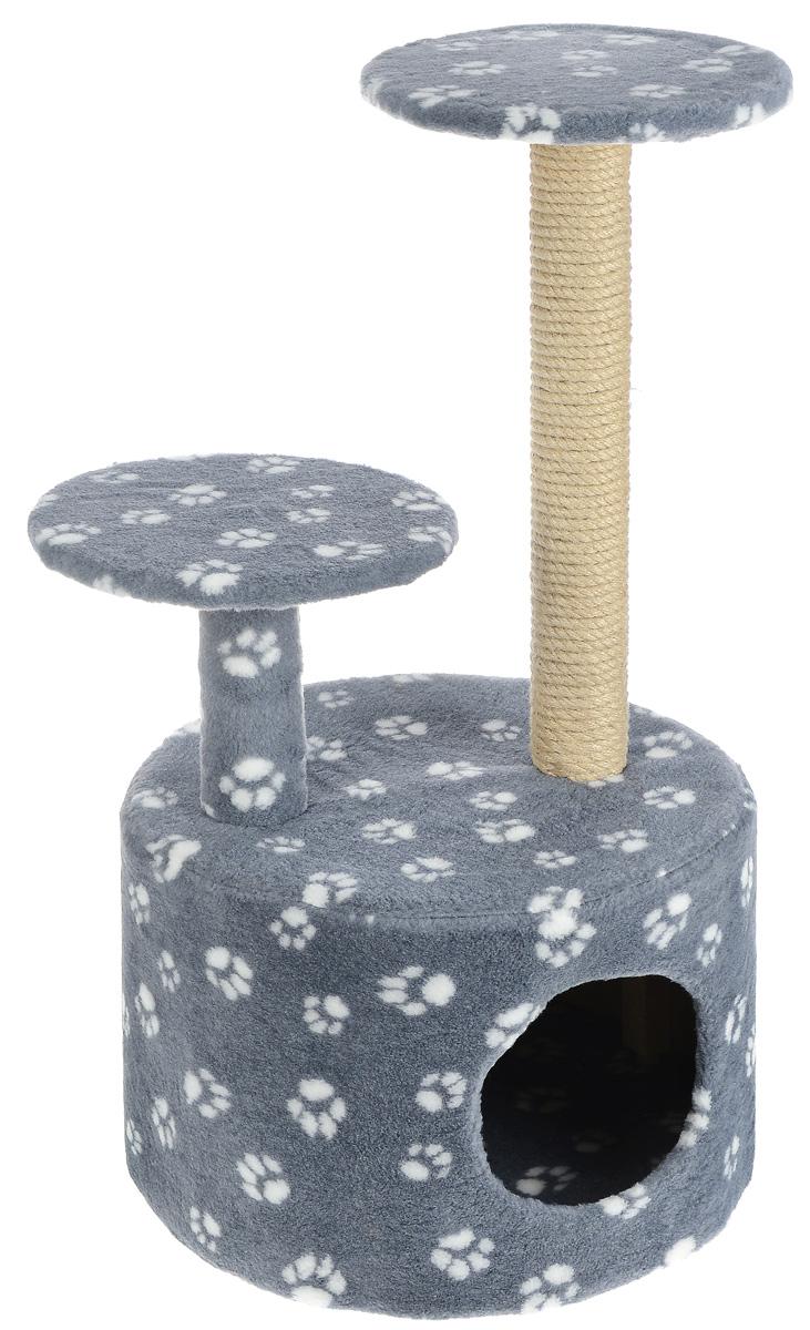 Игровой комплекс для кошек Меридиан Лапки, с когтеточкой и двумя полками, цвет: серый, белый, бежевый, 40 х 40 х 81 см игровой комплекс для кошек меридиан с двумя полками цвет белый черный бежевый 68 х 39 х 104 см