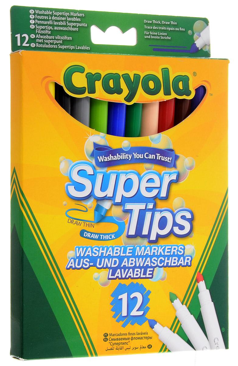 Crayola Фломастеры смываемые Supertips 12 цветов crayola llc crayola oil pastels 28 color set set of 12