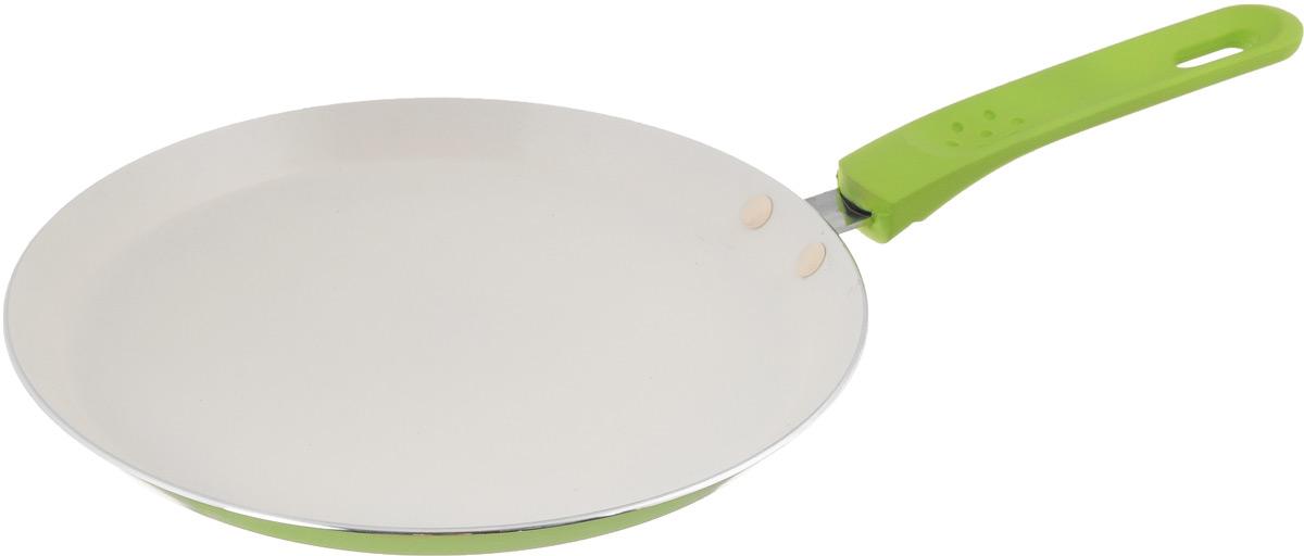 Сковорода блинная Mayer & Boch, с керамическим покрытием, цвет: салатовый. Диаметр 24 см сковорода блинная добрыня с керамическим покрытием цвет зеленый диаметр 24 см do 5015