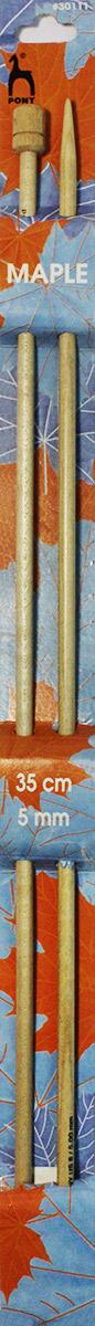 Фото - PONY Спицы прямые 5,00 мм/ 35 см, клен, 2 шт. 30111 спицы прямые gamma металлические диаметр 5 мм длина 20 см 5 шт