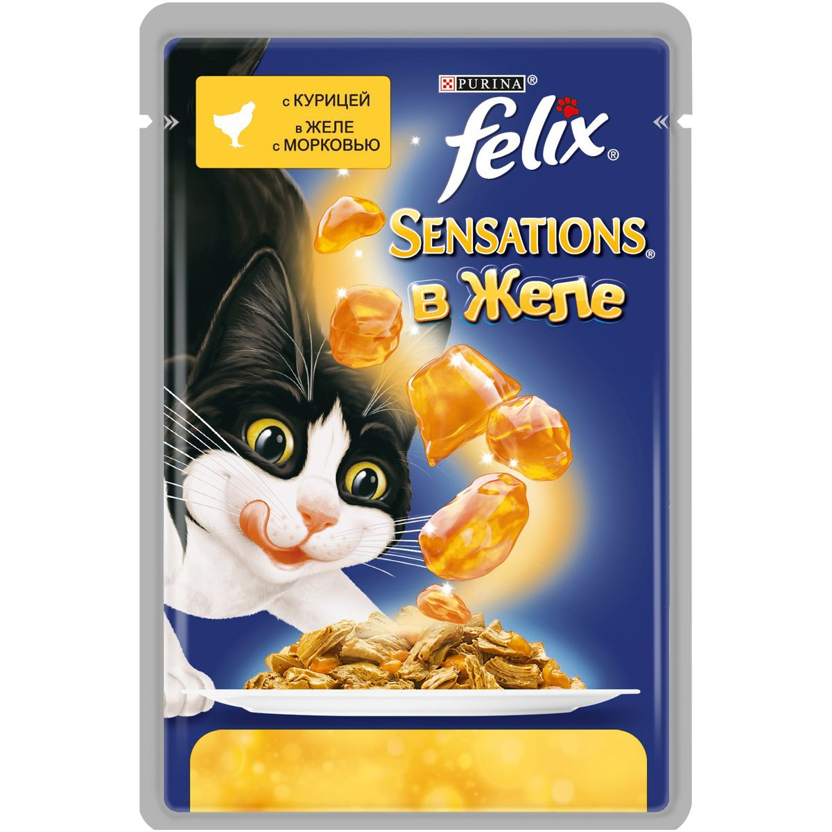 Консервы для кошек Felix Sensations, с курицей в желе морковью, 85 г