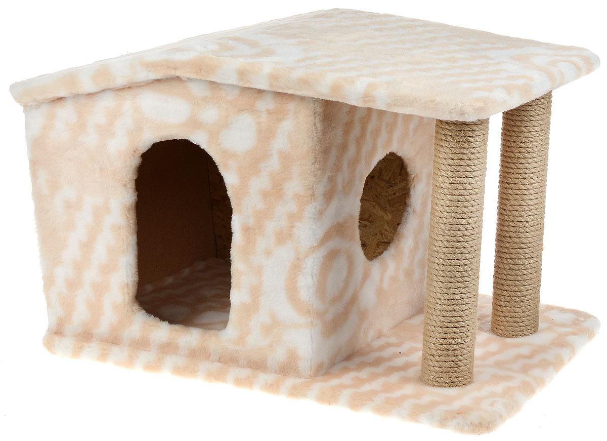 Игровой комплекс для кошек Меридиан Патриция, с домиком и когтеточкой, цвет: белый, бежевый , 63 х 40 х 41 см игровой комплекс для кошек меридиан с когтеточкой и двумя полками цвет светло коричневый бежевый 40 х 40 х 81 см