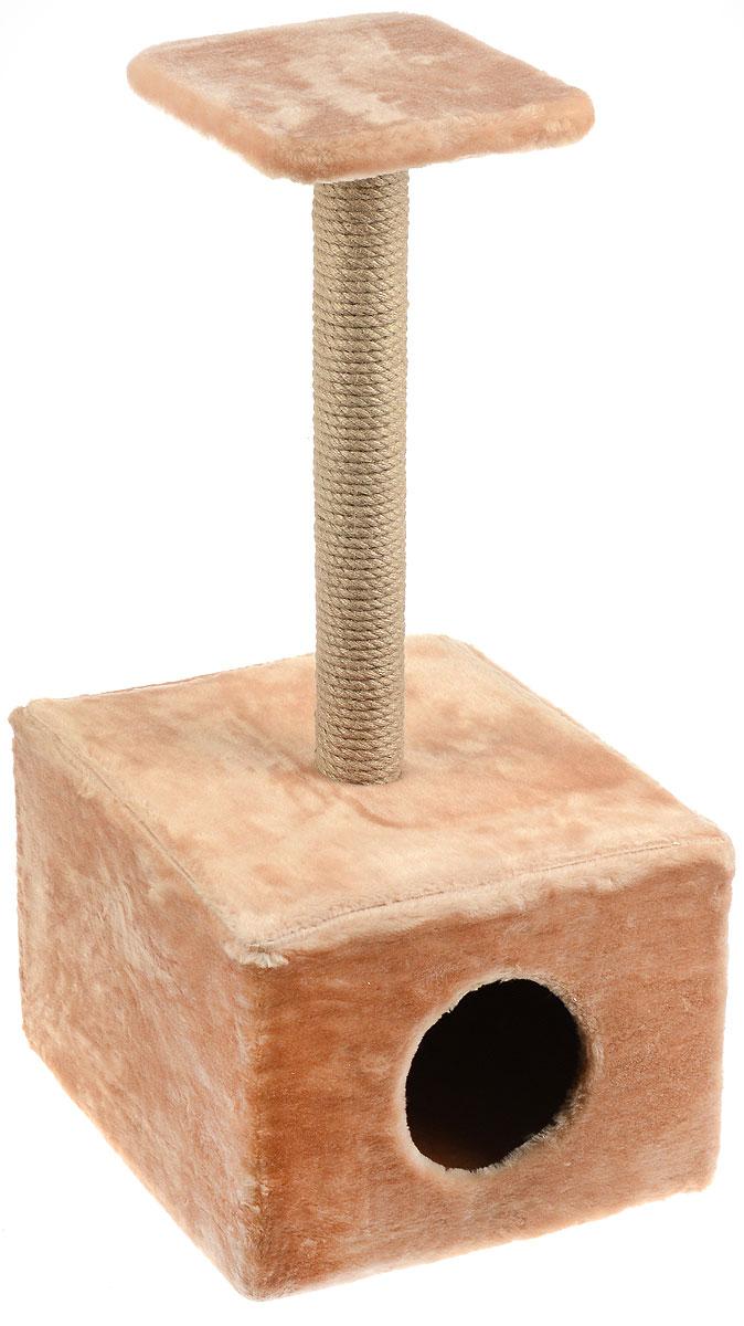 Игровой комплекс для кошек Меридиан, с полкой и домиком, цвет: светло-коричневый, бежевый, 39 х 39 х 80 см игровой комплекс для кошек меридиан с фигурной полкой и домиком цвет светло серый бежевый 45 х 36 х 69 см