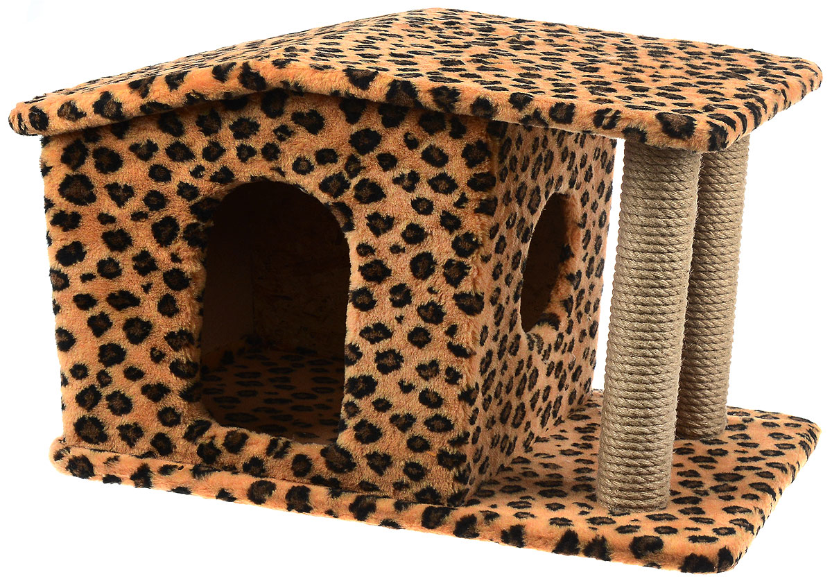 Игровой комплекс для кошек Меридиан Патриция, с домиком и когтеточкой, цвет: коричневый, черный, бежевый , 63 х 40 х 41 см игровой комплекс для кошек меридиан с фигурной полкой и домиком цвет светло серый бежевый 45 х 36 х 69 см