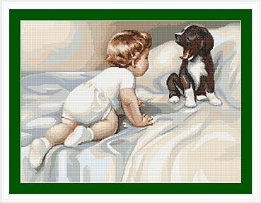 """Набор для вышивания крестом Luca-S """"Мальчик с собакой"""", 27 х 20 см"""