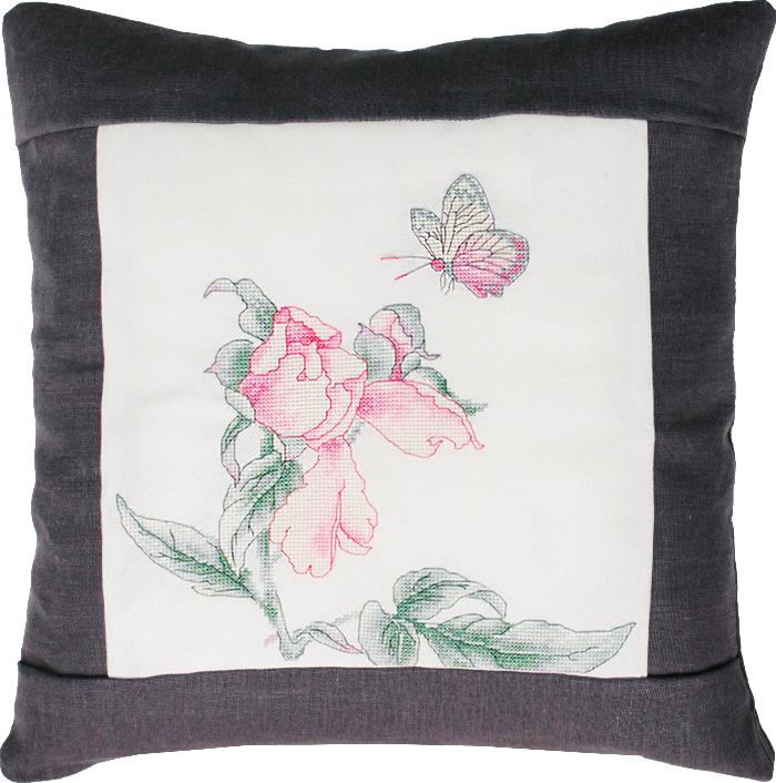 Набор для вышивания подушки Luca-S Цветок и бабочка, 40 х 40 см. PB105 набор для изготовления открытки luca s овечка 10 х 14 см