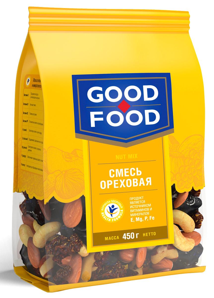 Good Foodсмесьореховая,450г good food кешьюжареный 200г