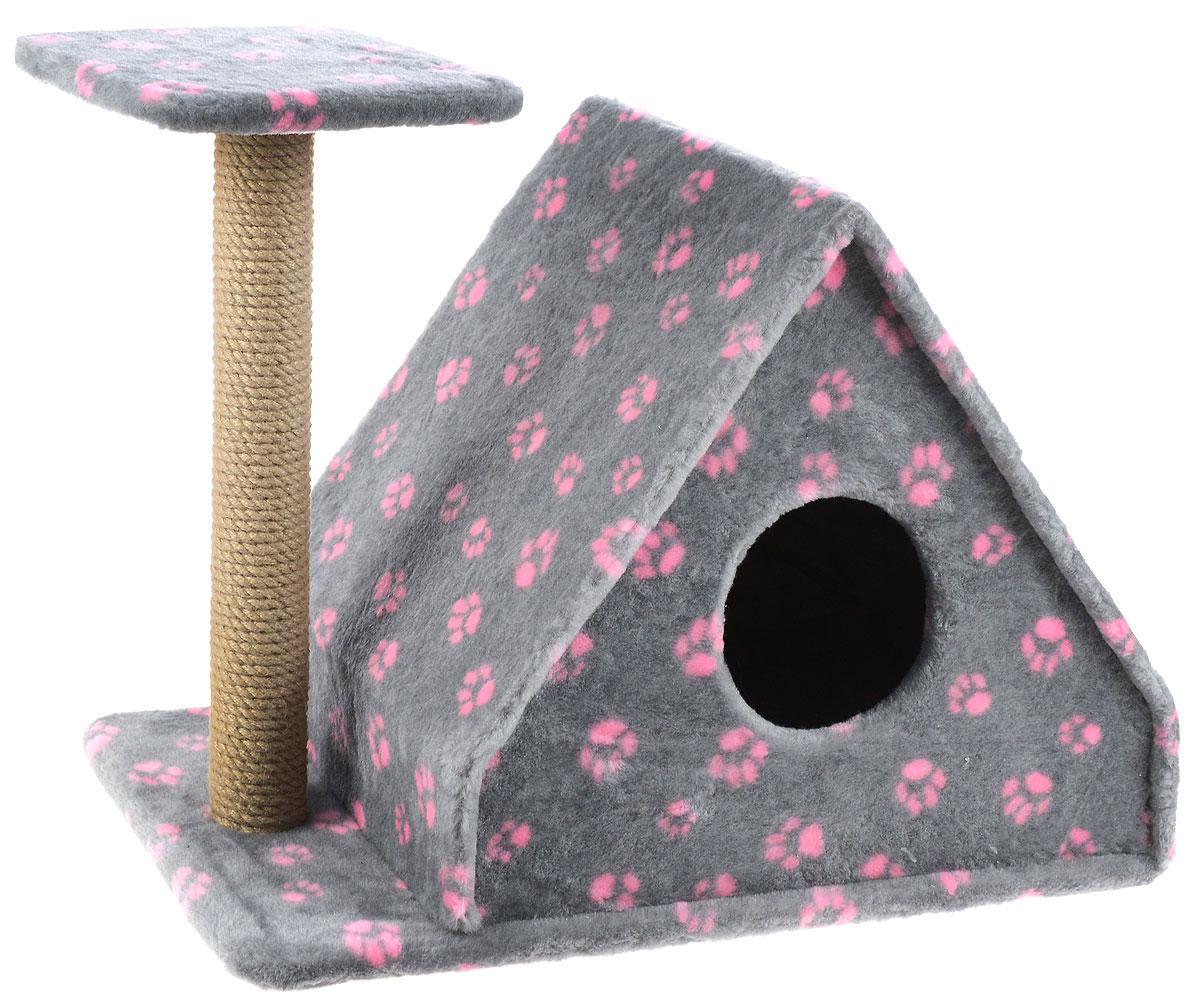 Игровой комплекс для кошек Меридиан, с домиком и когтеточкой, цвет: серый, розовый, бежевый, 64 х 39 х 54 см игровой комплекс для кошек меридиан с фигурной полкой и домиком цвет светло серый бежевый 45 х 36 х 69 см