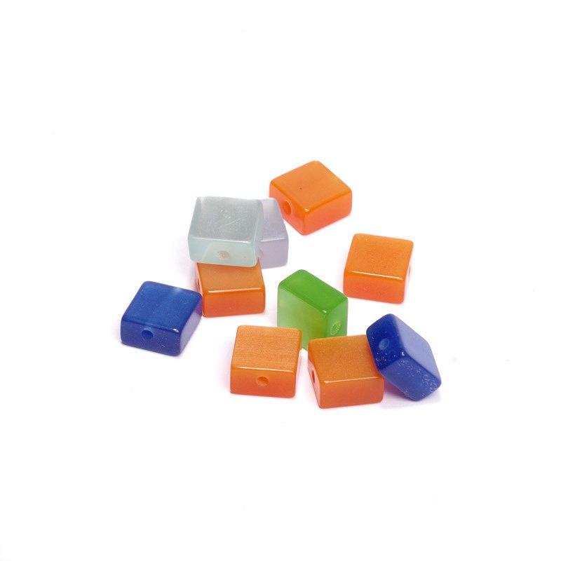 Бусины Magic 4 Hobby Цветные квадраты, акриловые, 10 x 10 мм, 10 шт цена