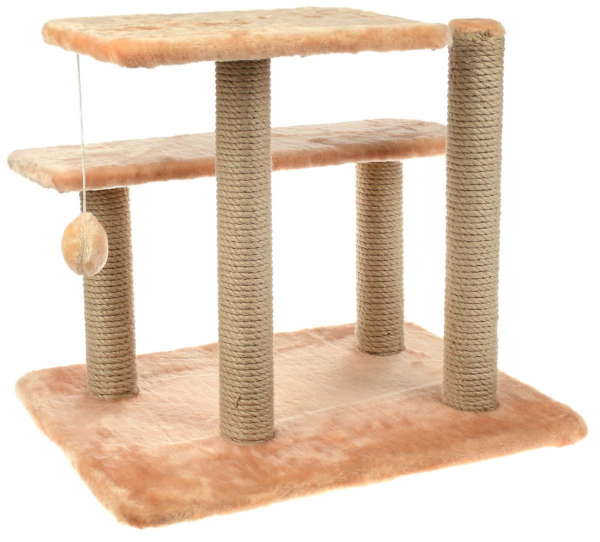 Игровой комплекс для кошек Меридиан, с игрушкой и когтеточками, цвет: светло-коричневый, бежевый, 61 х 41 х 53 см лежак для кошек меридиан ботинок 61 х 38 х 33 см