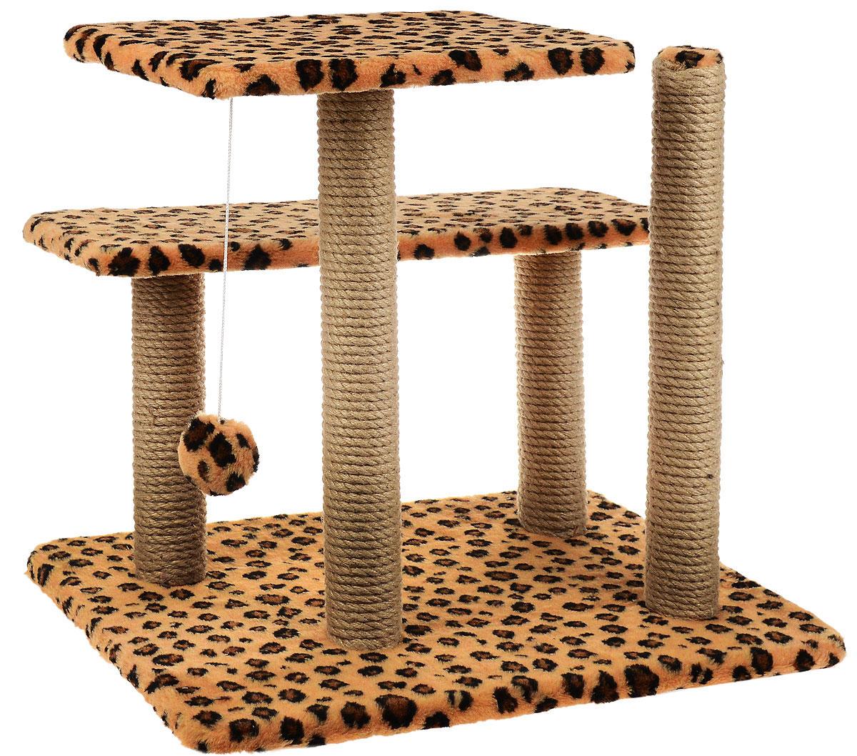 Игровой комплекс для кошек Меридиан, с игрушкой и когтеточками, цвет: коричневый, черный, бежевый, 61 х 41 х 53 см лежак для кошек меридиан ботинок 61 х 38 х 33 см
