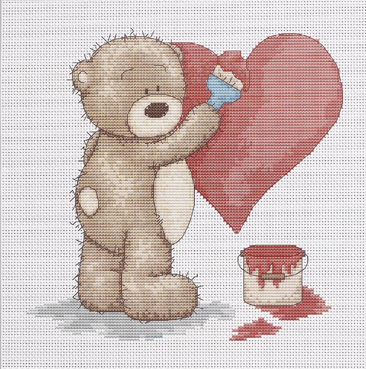 Днем, открытка мишка с сердечком