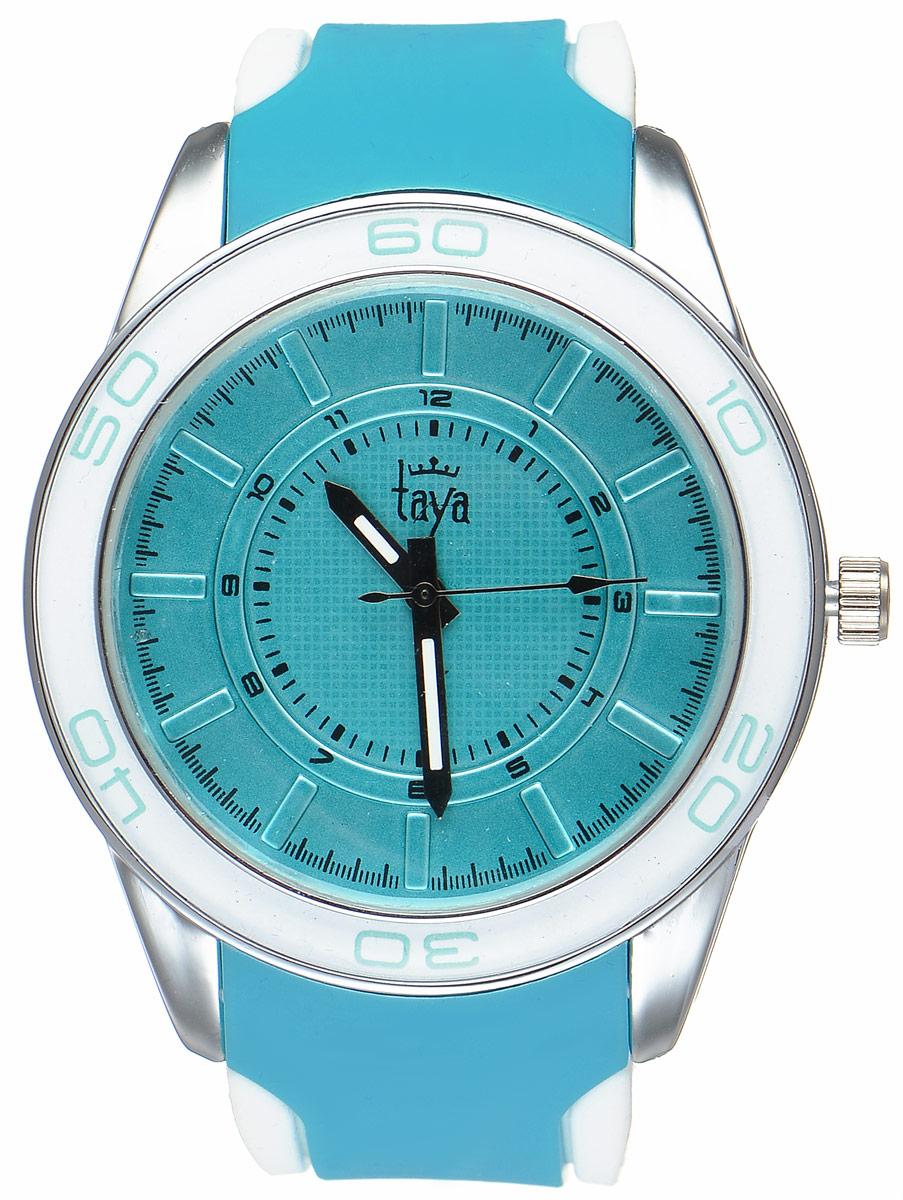 Часы наручные женские Taya, цвет: серебристый, бирюзовый. T-W-0206 все цены