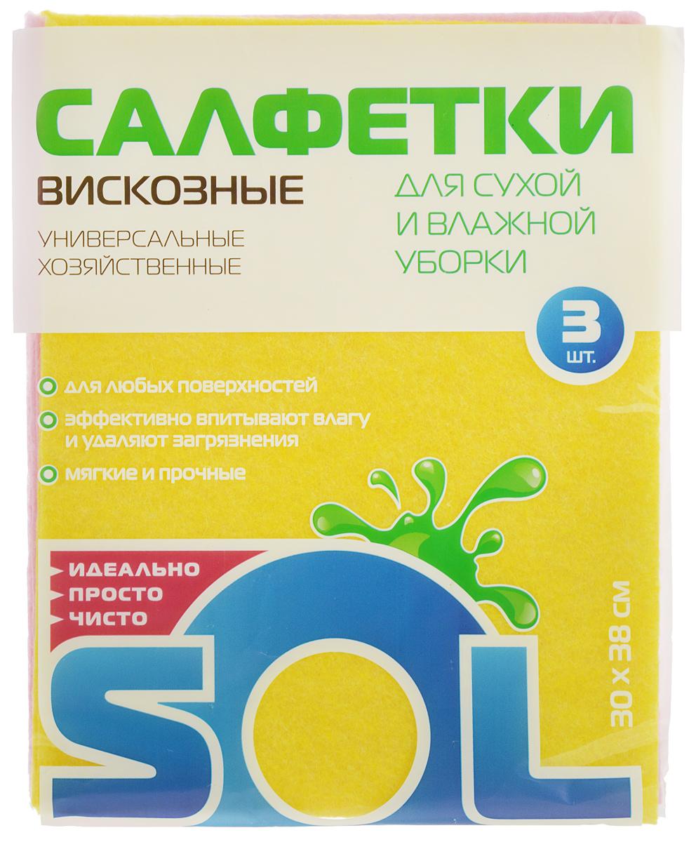 салфетки для уборки valiant салфетка для уборки 30 30 см оранжевая шт Салфетка для уборки Sol из вискозы, универсальная, цвет: желтый, розовый, 30 x 38 см, 3 шт