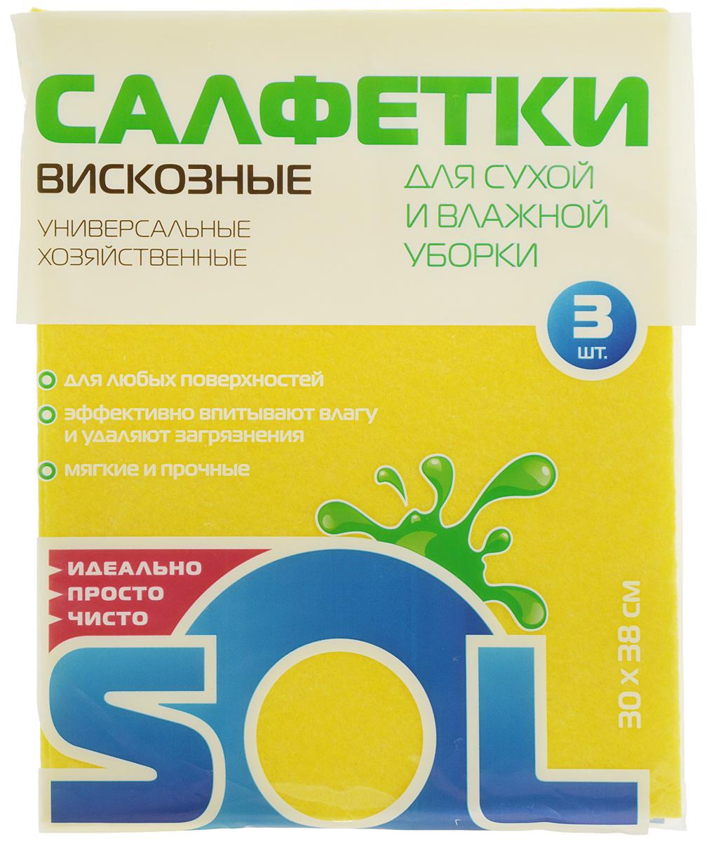 салфетки для уборки valiant салфетка для уборки 30 30 см оранжевая шт Салфетка для уборки Sol из вискозы, универсальная, цвет: желтый, 30 x 38 см, 3 шт