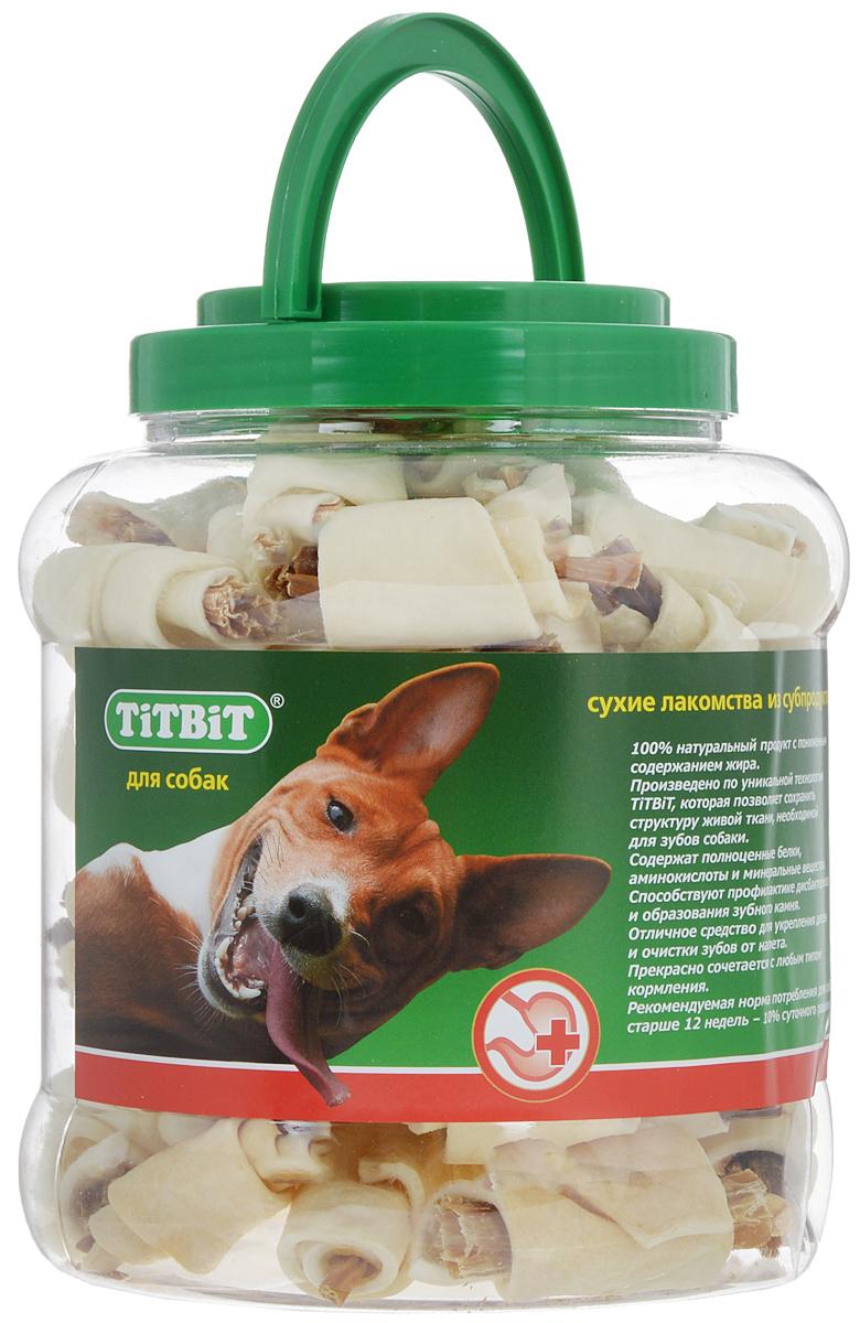 Лакомство для собак Titbit, рогалики из кожи с начинкой, 4,3 л264Лакомство для собак Titbit - высушенная говяжья кожа с начинкой из кишок говяжьих. Это 100% натуральный продукт с пониженным содержанием жира. Благодаря большому содержанию аминокислот и коллагена, лакомство положительно воздействует на хрящевую ткань, состояние кожи и шерсти собаки. Способствует профилактике дисбактериоза и образованию зубного камня, а также укрепляет десна и очищает зубы от налета. Кишки возбуждают аппетит и придают лакомству особый вкус, который так нравится собаке. Лакомство хранится в пластиковой банке с ручкой. Товар сертифицирован. Тайная жизнь домашних животных: чем занять собаку, пока вы на работе. Статья OZON Гид