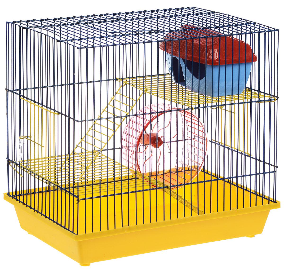 Клетка для грызунов ЗооМарк, 3-этажная, цвет: желтый поддон, синяя решетка, желтые этажи, 36 х 23 х 34,5 см. 135ж клетка для грызунов зоомарк гризли 4 этажная цвет красный поддон синяя решетка красные этажи 41 х 30 х 50 см