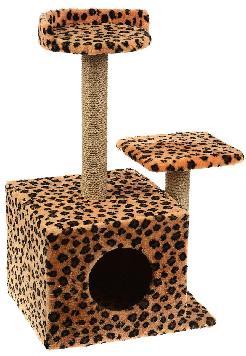 Игровой комплекс для кошек Меридиан, с домиком и когтеточкой, цвет: коричневый, черный, бежевый, 35 х 45 х 75 см игровой комплекс для кошек меридиан с домиком и когтеточкой цвет светло коричневый бежевый 35 х 45 х 75 см