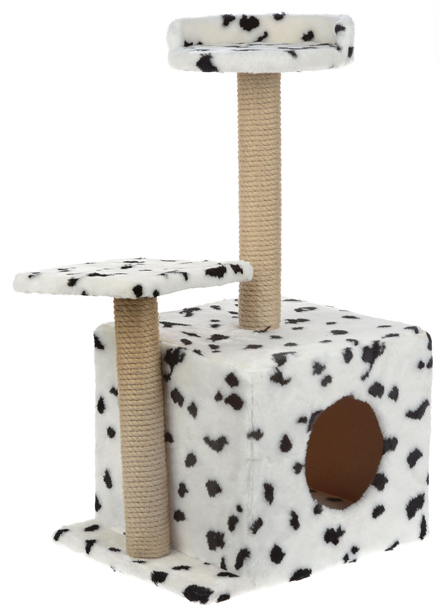 Меридиан, Домик-когтеточка Квадратный трехэтажный, рис. Далматин (белый фон, черный рисунок), 35 х 45 х 75 см лежак для кошек меридиан ботинок 61 х 38 х 33 см