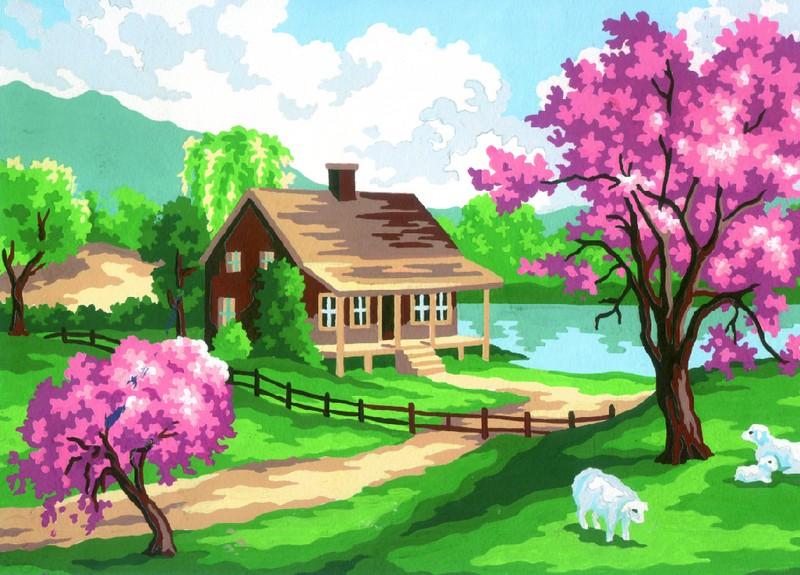 Картинки нарисованных домов на природе