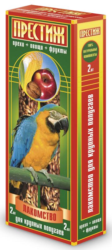Лакомство для крупных попугаев Престиж палочки с овощами, фруктами и орехом, 2 шт лакомство для грызунов престиж сказочный домик с овощами и фруктами
