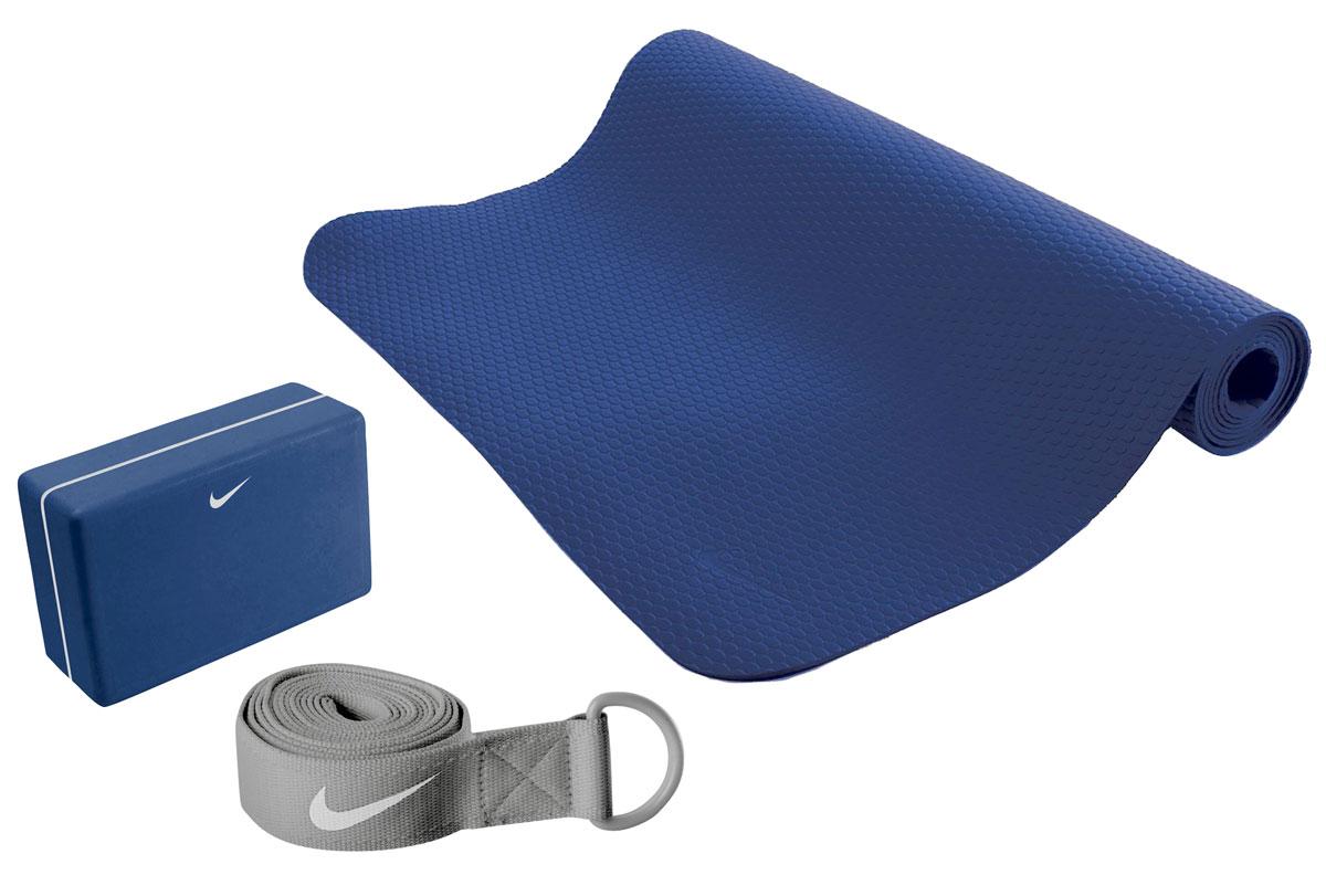 Набор для йоги Nike, цвет: синий, серый, 3 предмета набор чехлов для дивана и кресел мартекс с карманами 3 предмета 05 0751 3
