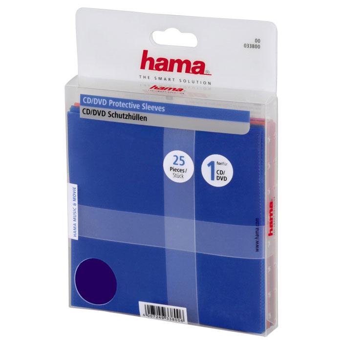 Hama H-33800 конверт для CD/DVD (25 шт) конверты hama для cd dvd полипропилен 5 цветов 50шт h 51067