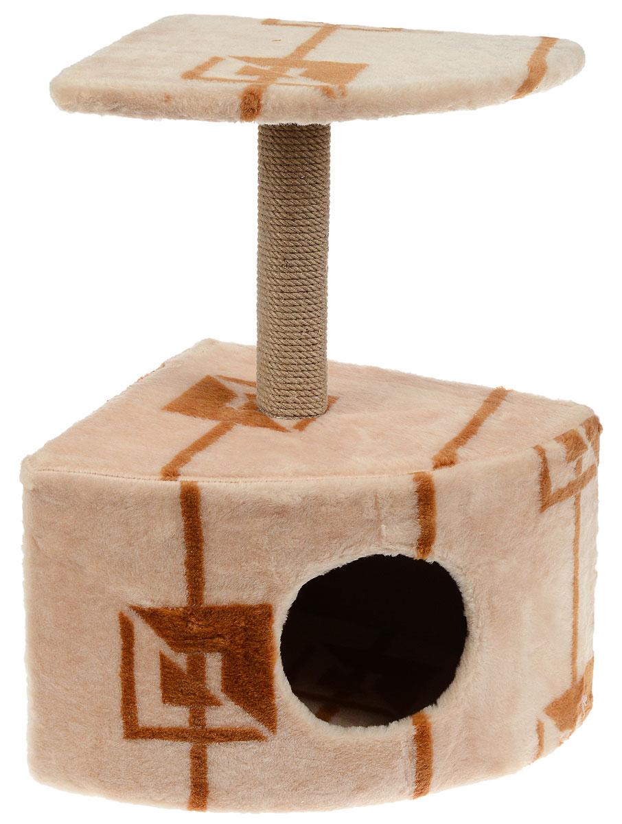 Игровой комплекс для кошек Меридиан, с домиком и когтеточкой, цвет: коричневый, бежевый, 39 х 39 х 62 см лежак для кошек меридиан ботинок 61 х 38 х 33 см