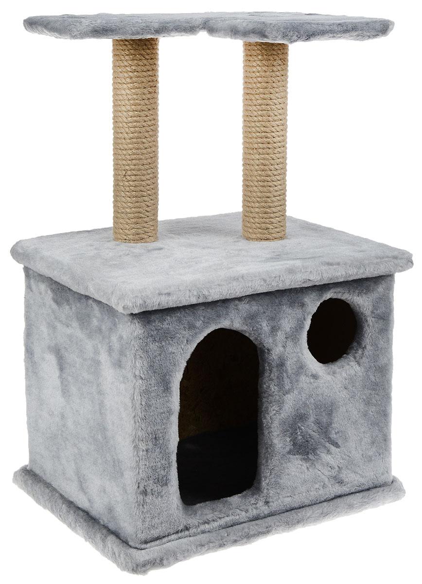 Игровой комплекс для кошек Меридиан, с фигурной полкой и домиком, цвет: в ассортименте, 45 х 36 х 69 см игровой комплекс для кошек меридиан с фигурной полкой и домиком цвет светло серый бежевый 45 х 36 х 69 см