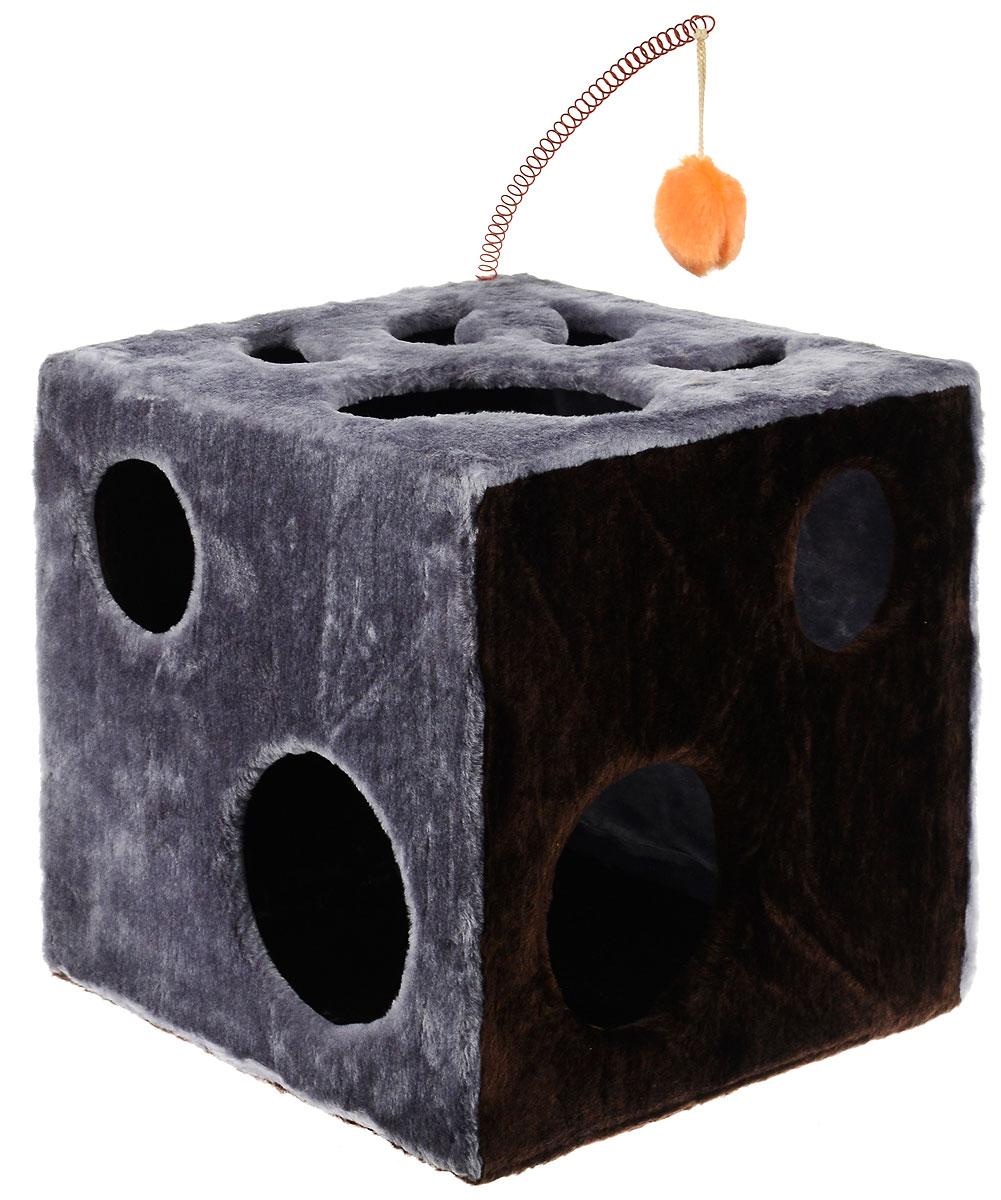Домик для кошек ЗооМарк Кубик с лапкой, с игрушкой, цвет: серый, темно-коричневый, 42 х 42 х 42 см цена