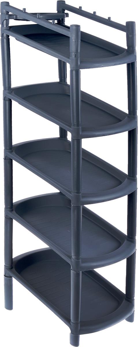 Этажерка для обуви BranQ, узкая, 5 полок, цвет: темно-серый, 42 х 25,2 х 101,5 см полка для обуви magellanno этажерка шуз цвет темно коричневый 62 х 60 х 30 см