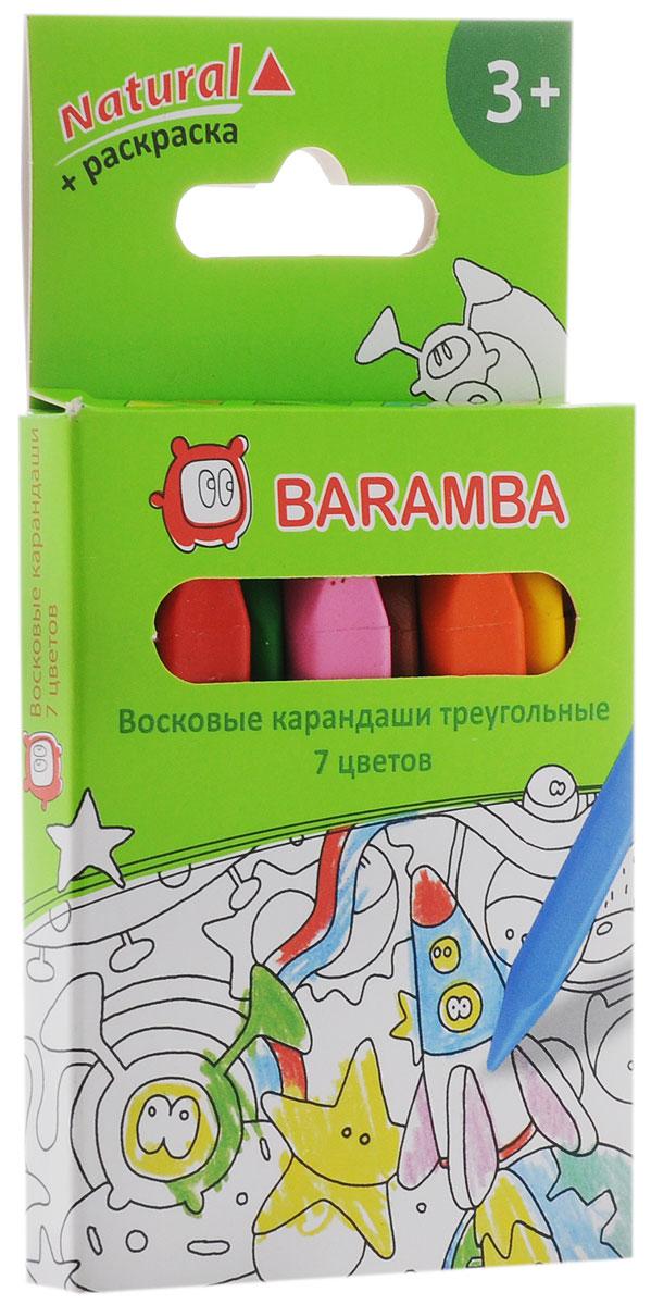 Baramba Набор цветных восковых карандашей Natural 7 цветов карандаши цветные baramba шестигранные 12 цветов