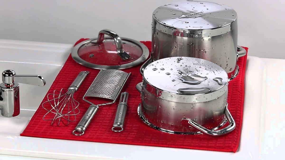 Коврик для сушки посуды Tescoma Presto Tone, микрофибровый, цвет: красный, 50 х 39 см цена