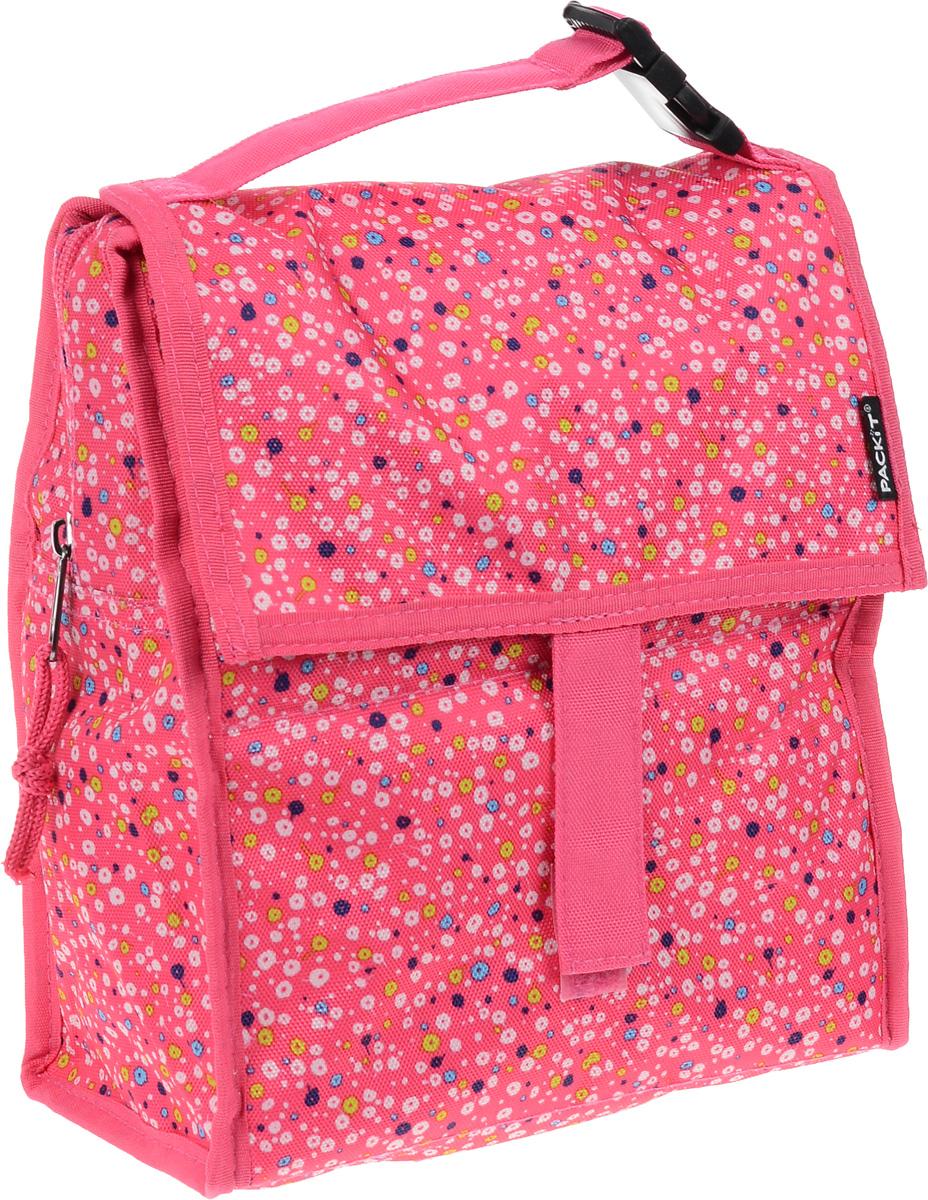 Сумка-холодильник Packit Lunch Bag, складная, цвет: розовый, белый, синий, 4,5 л