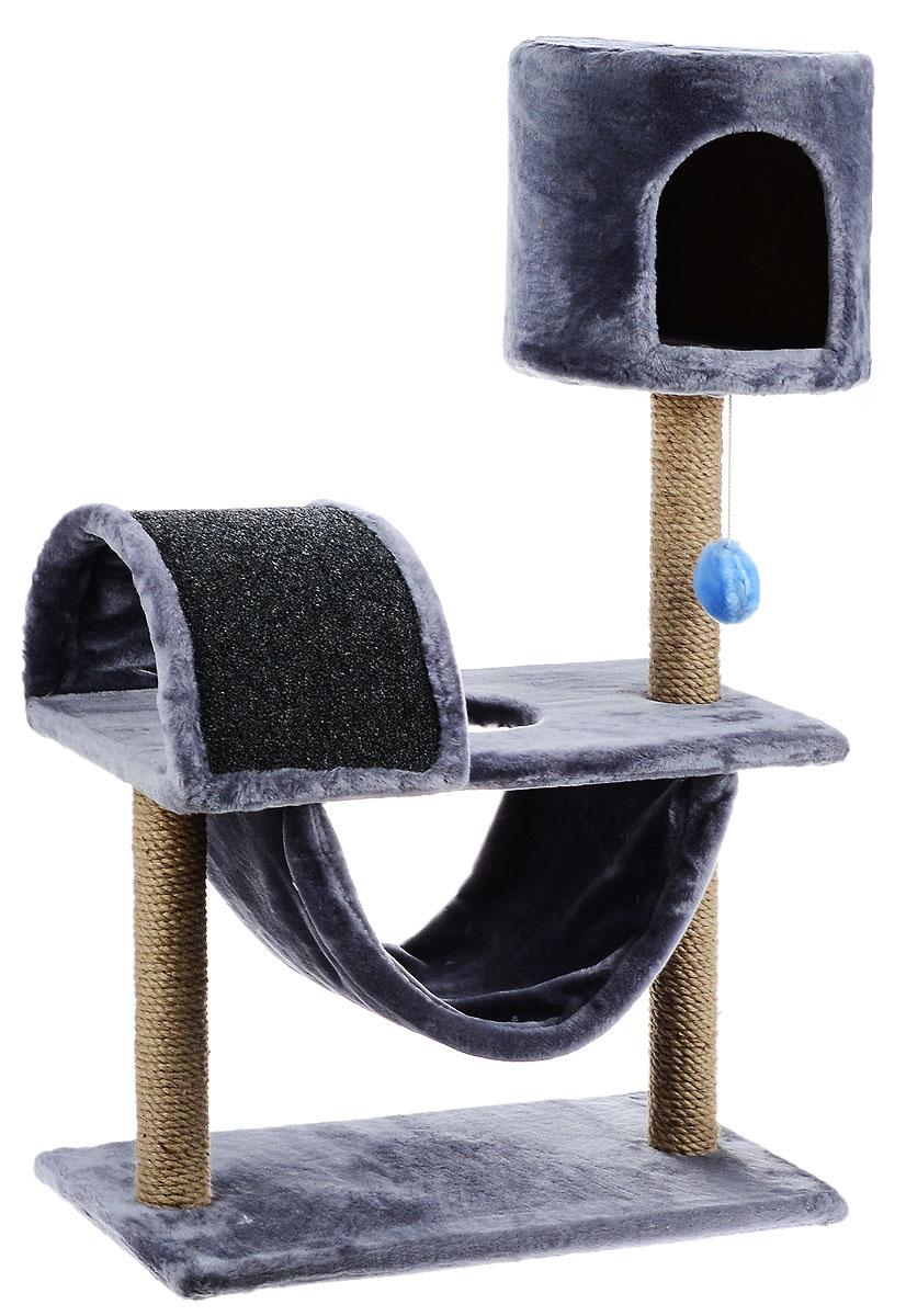 Игровой комплекс для кошек ЗооМарк Кузя, цвет: серый, бежевый, 69 х 37 х 102 см дачный комплекс romana игровой домик буратино романа 102 01 00