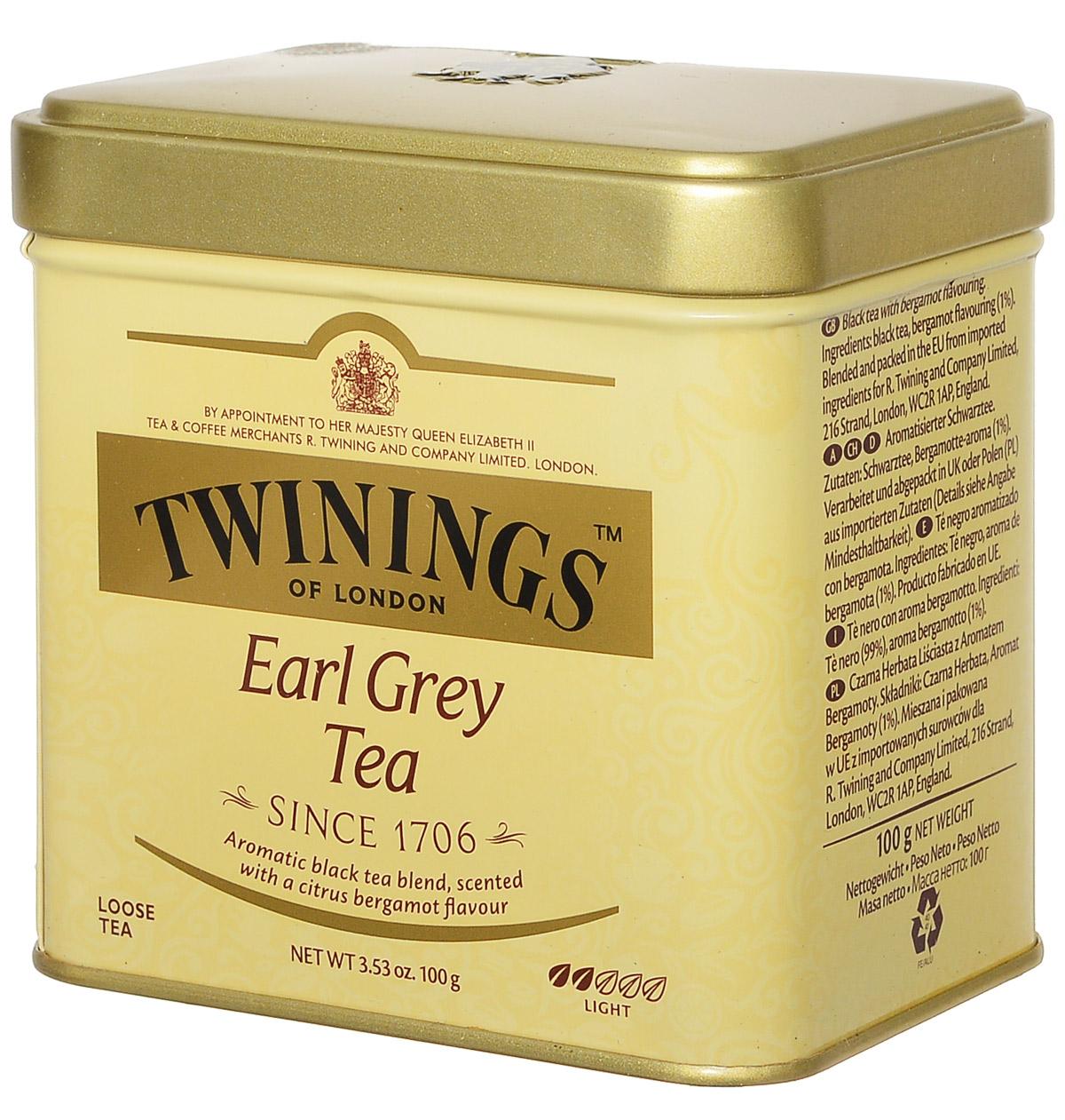 Twinings Earl Grey Tea черный ароматизированный листовой чай, 100 г (ж/б) ahmad tea earl grey черный листовой чай 100 г ж б