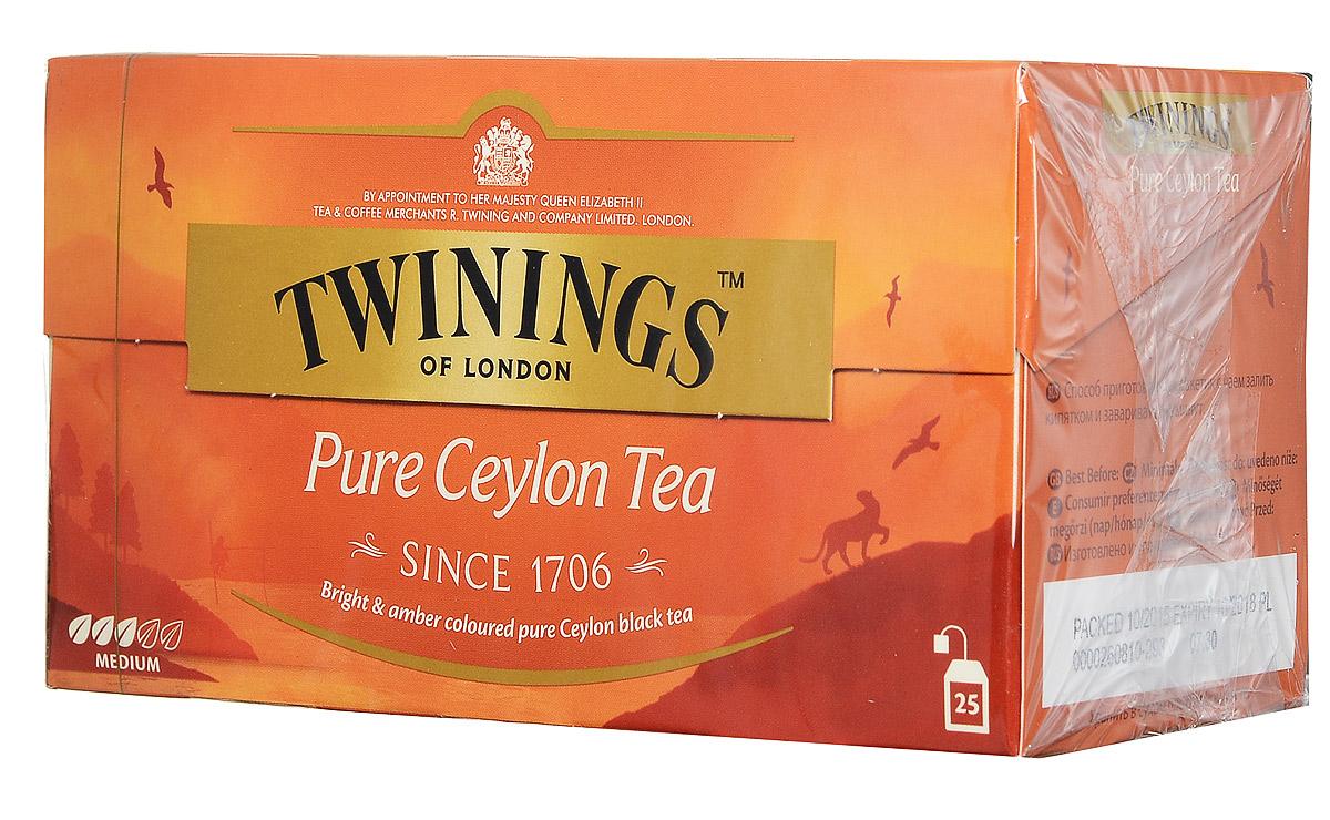 Twinings Pure Ceylon Tea черный чай в пакетиках, 25 шт 2015 arrival vacuum pack lapsang souchong canton village black tea 500g ceylon assam premium selection count special pearl milk