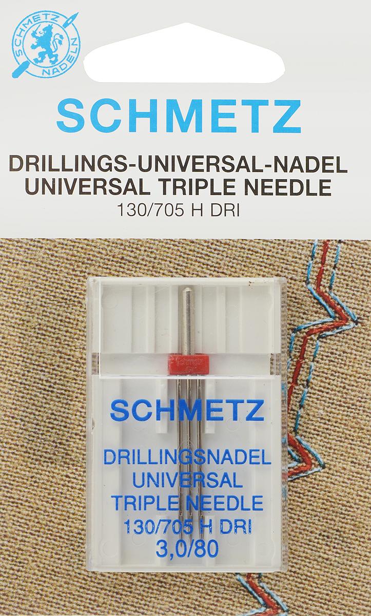 """Игла для бытовых швейных машин """"Schmetz"""", универсальная, тройная, №80, 3 мм"""