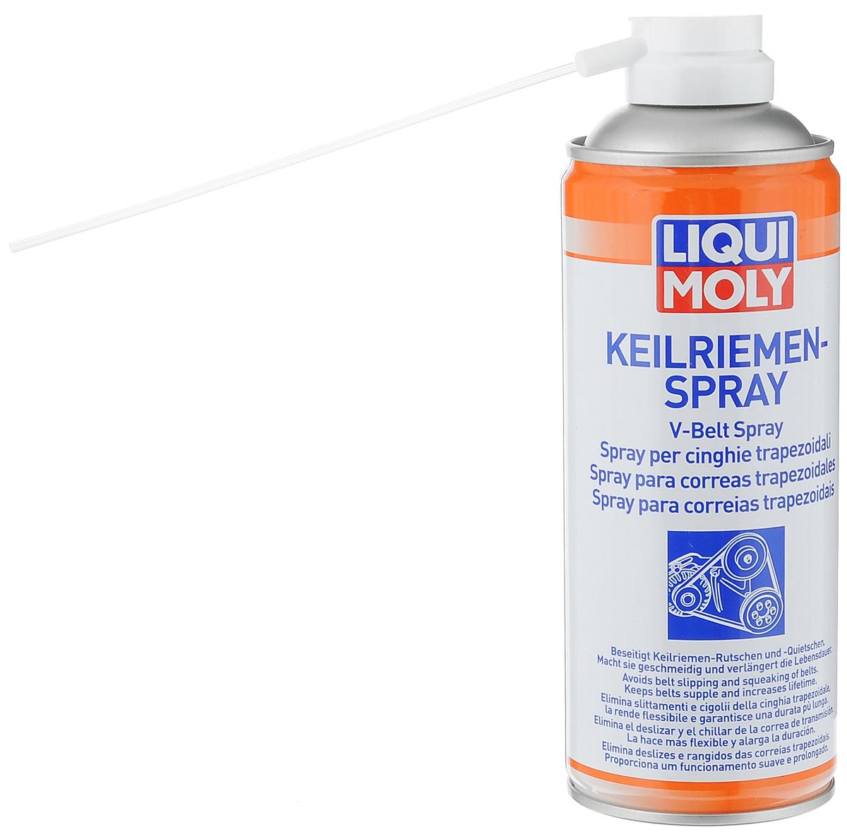 Спрей для клинового ремня LiquiMoly Keilriemen-Spray, 0,4 л4085Спрей LiquiMoly Keilriemen-Spray - это прекрасное профессиональное средство для восстановления старых изношенных приводных клиновых и поликлиновых ремней (генератора, гидроусилителя руля, вариатора, водяного насоса, кондиционера и другого). Устраняет скрип и проскальзывание. Быстро, безопасно и эффективно очищает поверхность от масляных и других видов загрязнений, увеличивает эластичность резинового слоя, при постоянной обработке предотвращается растрескивание и повышается срок службы. Способствует увеличению КПД передачи. Состав: ацетон, диметиловый эфир, нефтяные компоненты, пропеллент бутан.