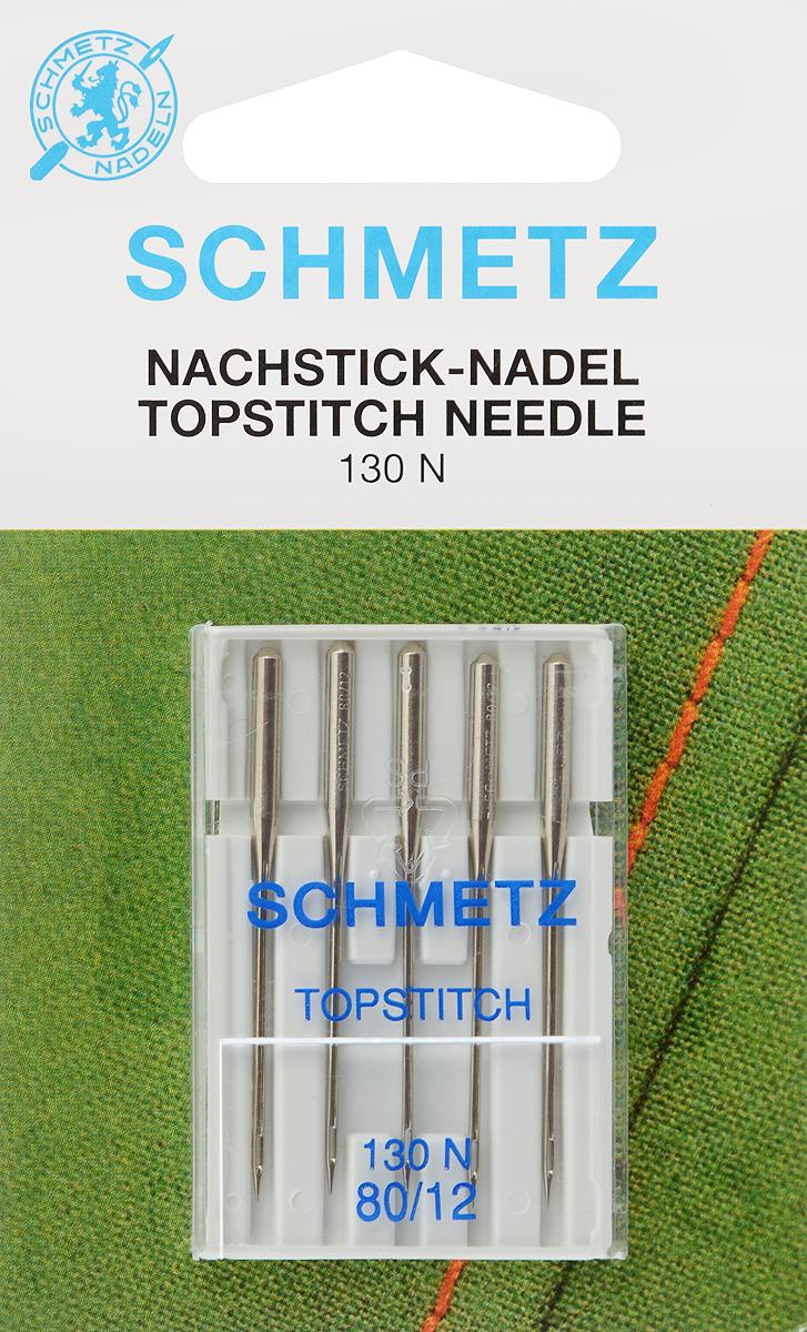 Иглы для бытовых швейных машин Schmetz Topstitch, для декоративных строчек, №80, 5 шт кольцо на моталку bestex для бытовых машин 5 шт
