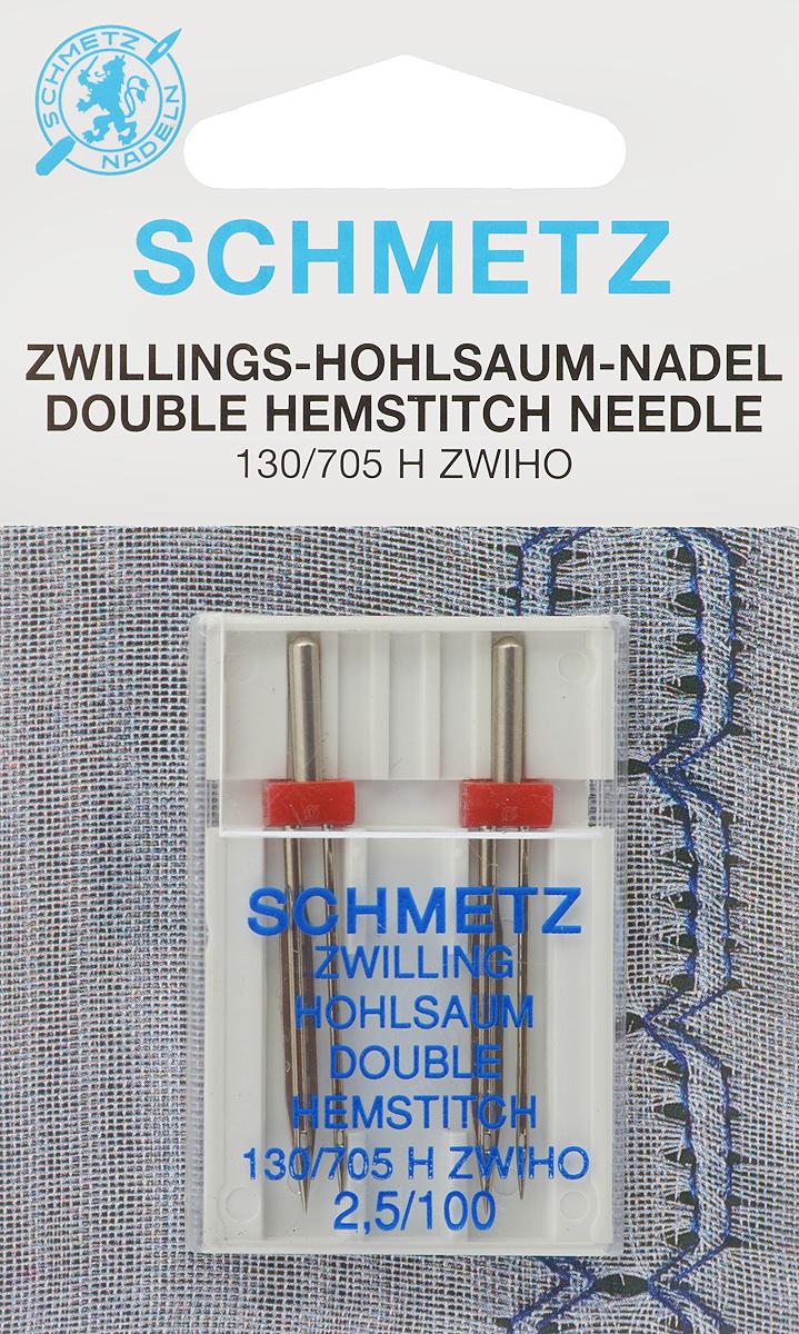 """Иглы """"Schmetz"""" для машинной вышивки в технике мережка, двойные, №100, 2,5 мм, 2 шт"""