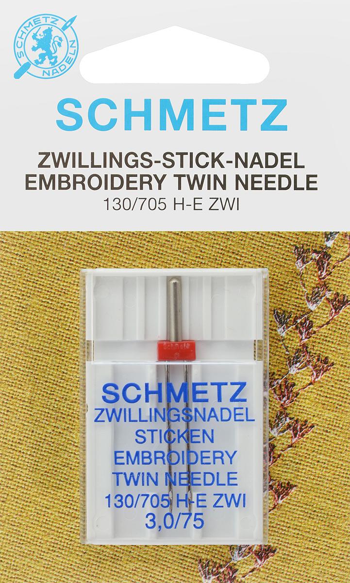 Игла для машинной вышивки Schmetz, двойная, №75, 3 мм