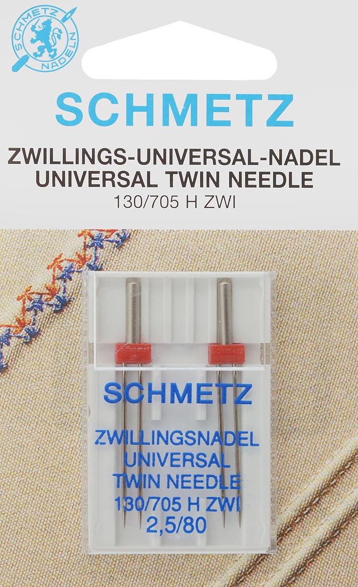 """Иглы для бытовых швейных машин """"Schmetz"""", универсальные, двойные, №80, 2,5 мм, 2 шт"""