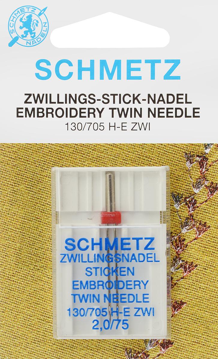 Игла для машинной вышивки Schmetz, двойная, №75, 2 мм